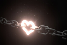Glowing Heart Linking Two Chains