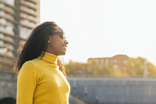 Stylish Black Young Woman Portrait With Sunglasses