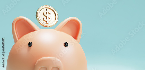 Canvas Pink piggy bank and US dollar coins falling on blue background for money saving and deposit concept , creative ideas by 3D rendering technique