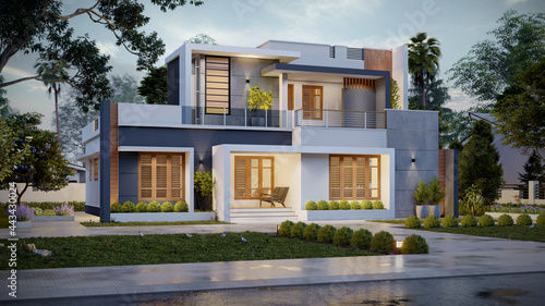 Fotografiet 3d illustration of a newly built luxury home