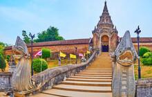 Panorama With Naga Serpents And Stairs Of Wat Phra That Lampang Luang Temple, Lampang, Thailand