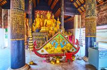 The Altar Of Viharn Nam Taem Of Wat Phra That Lampang Luang Temple, On May 8 In  Lampang, Thailand