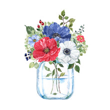 Watercolor Floral Bouquet In A Glass Jar. Hand Painted Illustration. Red, White And Navy Blue Flowers, Green Leaves Arrangement. Holiday Card Design.