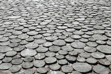 Sidewalk Covering Made Of Wood Slices, For Backgrounds Or Textures