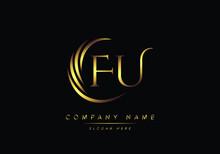 Alphabet Letters FU Monogram Logo, Gold Color Elegant Classical