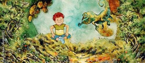 Summer adventure. Watercolor for children.