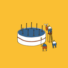 Tiny People With Cake