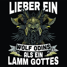 Dear Wolf Odins Instead Of Lamm Gott Viking Ax Wo Design Vector Illustration For Use In Canvas Poster Design And Print