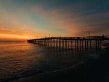 Nags Head Pier At Sunrise, In The Outer Banks, North Carolina