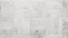 White Wood Texture. Wooden Boards Arranged In A Checkerboard Parquet Pattern.