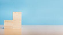 Stack Wooden Blocks. Blank Wood Block For Insert Some Sentence, Icon, Symbol.