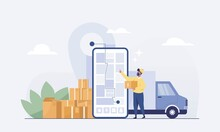 Staff Deliver Goods By Car To Customers On Mobile App For Tracking Order. Vector Illustration