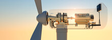 Cross Section Of Large Commercial Wind Turbine At Sunset 3d Render
