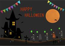 かわいいハロウィン仮装の子供たちと不気味な城、満月のフレーム(風船とジャックオーランタンでデコレーションされたロゴ入り・コピースペースあり)