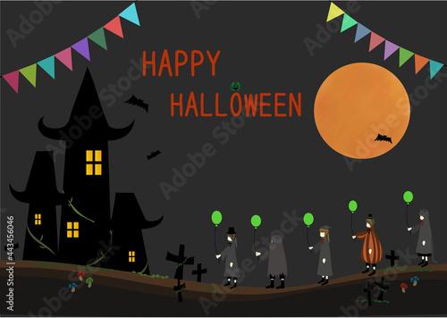 Fotografie, Tablou かわいいハロウィン仮装の子供たちと不気味な城、満月のフレーム(風船とジャックオーランタンでデコレーションされたロゴ入り・コピースペースあり)
