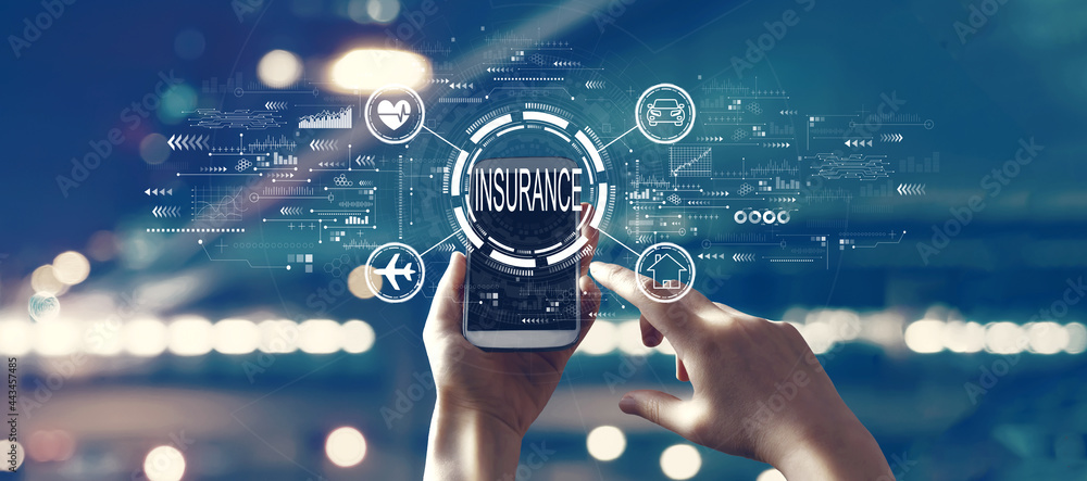 Obraz Insurance concept with person using smartphone fototapeta, plakat
