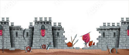 Canvastavla Stone castle vector wall seamless background, battlefield game illustration, medieval brick fortress ruin