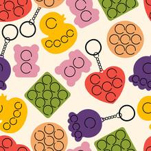Vector Illustration Set Of Trendy Sensory Pop It Fidgets. Rainbow Antistress Toys With Trinket. Seamless Pattern.