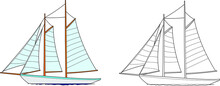 Ship Vector Drawing Line Art With Color