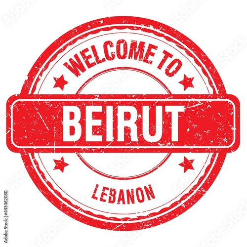 Tableau sur Toile WELCOME TO BEIRUT - LEBANON, words written on red stamp