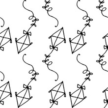 Vector Seamless Pattern Of A Kite. A Hand-drawn Kite In The Style Of Doodles In The Shape Of A Diamond With Bows On A String, A Black Line And Geometrically Arranged On A White Background For A Design