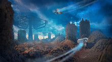 3d Illustration Of A Fantasy Alien Planet With Drone Vehicles Flying Into The Background - Digital Science Fiction Painting