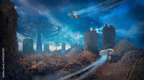 Obraz na plátně 3d illustration of a fantasy alien planet with drone vehicles flying into the ba