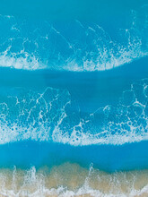 Resin Art With Blue Ocean Waves And Beach. Sea Background Of Epoxy Art