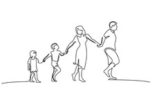 Family Walking Hand In Hand. Dad, Mom And Two Children