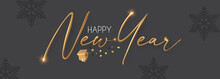 Happy 2022 New Year! Elegant Christmas Congratulation With 3D Realistic Gold Metal Text.