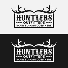 Hunting Antler Badge Emblem Stamp Label For Adventure Outdoor Hiking Camping Hunting Sport Gear Business Brand Community Club In Classic Unique Hipster Retro Rustic Vintage Style Logo Design Template