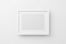 Rectangular Wall Picture Photo Frame Mockup In White Background, Banner Or Poster Template, 3d Render.