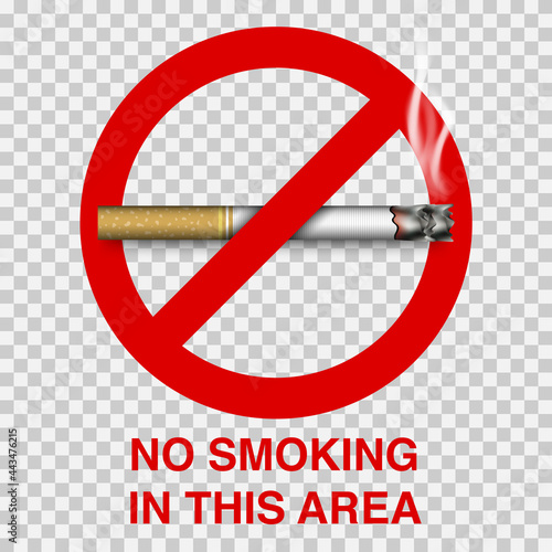 Photo No smoking sign with cigarette, vector illustration