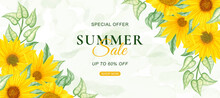 Summer Sale Banner Template With Watercolor Sunflower Background