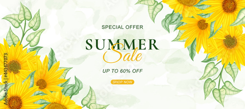 Fotografie, Obraz Summer sale banner template with watercolor sunflower background