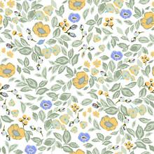 Vector Classic And Retro Rose, Flowers Botanical Illustration Motif Seamless Repeat Pattern Digital File Artwork Home Decor Print Or Fashion Fabric