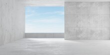 Abstract Empty, Modern Concrete Room With Balcony Opening With Ocean View On The Back Wall And Rough Floor - Industrial Interior Background Template
