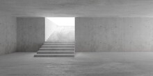 Abstract Empty, Modern Concrete Room With Indirect Lighting From Top Of Staircase In The Back - Industrial Interior Background Template