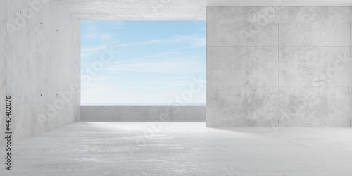 Abstract empty, modern concrete room with balcony opening with ocean view on the Fototapet