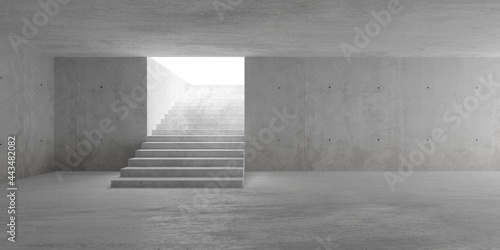 Slika na platnu Abstract empty, modern concrete room with indirect lighting from top of staircas