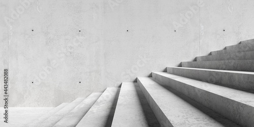 Abstract empty, modern concrete exterior room with large staircase and sunlight - industrial background template concept