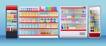 Shop Fridges, Refrigeration Showcase With Colorful Product Packs