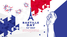 Banner Illustration Of Bastille Day Celebration With Eifel Tower, Waving Flag And Hands Clenched Icon. Vector Illustration.
