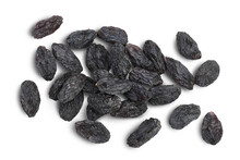 Black Raisin Isolated On White Background With Clipping Path. Top View. Flat Lay