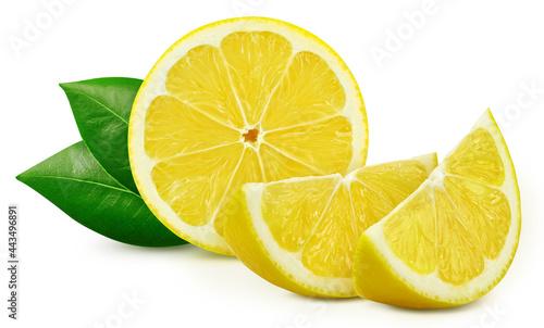 Canvastavla Lemons and leaves, isolated on white background