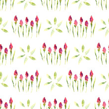 Watercolor Seamless Pattern With Red Tulip Flowers And Green Leaves
