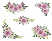Arrangement Watercolor Pink Roses Bouquet For Wedding Card, Flora Vector Design
