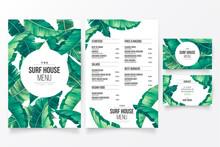 Modern Restaurant Menu Template With Floral Tropical Theme Design Vector Illustration