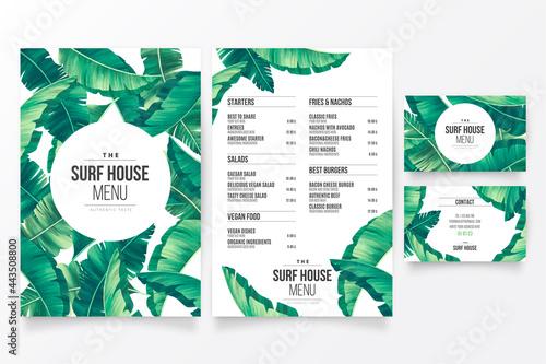 modern restaurant menu template with floral tropical theme design vector illustr Fotobehang