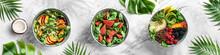 Fresh Summer Salad With Quinoa, Peach, Micro Greens, Avocado, Raspberries, Blackberries, Coconut, Melon On Light Marble Background. Healthy Food, Clean Eating, Buddha Bowl Salad, Detox, Top View